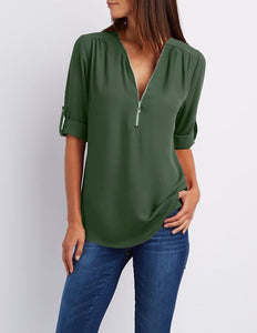 Womens Summer V Neck Chiffon Long Sleeve Shirt