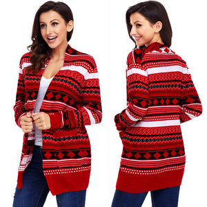 Christmas Graphic Tunic Knitted Draped Cardigan Sweater Knitwear
