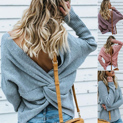Round Neck Pullover Backless Crossover Sweater