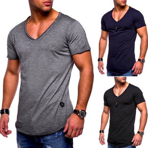 Men's V-neck Casual Arc Hem Short-sleeved Solid Color T-shirt