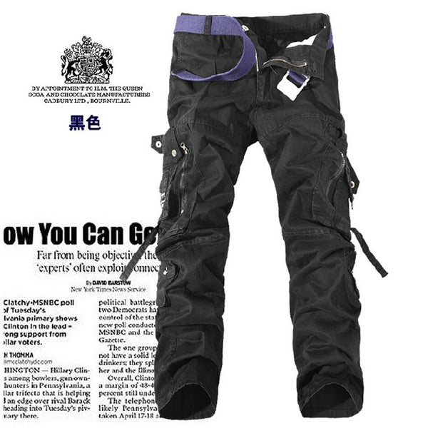 Zipper Fly Multi-Pocket Drawstring  Cargo Pants