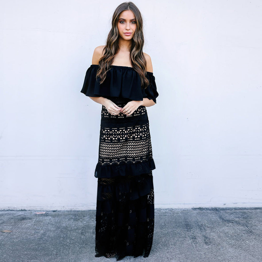 Women's Off Shoulder Lace Evening Party Long Dresses