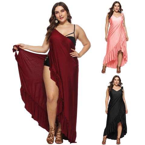 Plus Size Beach Maxi Wrap Slip Dress