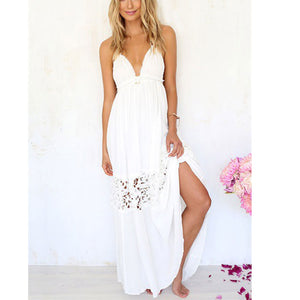 Sexy Lace Halter Beach Backless Long Ball Gown Maxi Dress