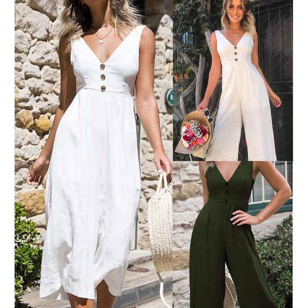 Casual Sleeveless Button Design V-neck High-Rise Jumpsuit