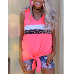 Fluorescent Leopard Stitching Lacing Casual Vest Top