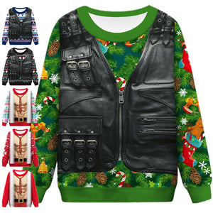 Funny Faux Suit Print Ugly Christmas Sweater Long Sleeve Sweatshirt