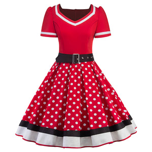 Retro 1950s Polka Dot Rockabilly Belted Elegant Dress Hepburn Style