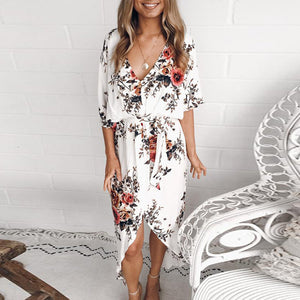 Fashion Printed V-neck Back Slit Irregular Lace-up Dress