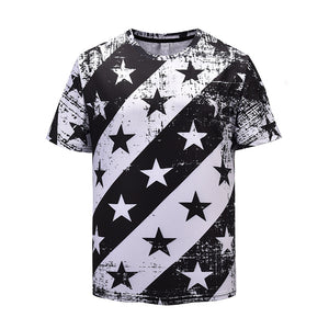Star Stripe Print Round T-Shirt