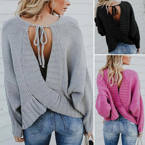 Knit Back Cross Strap Backless Sweater
