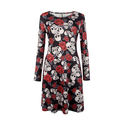 Halloween Skull Print Dress