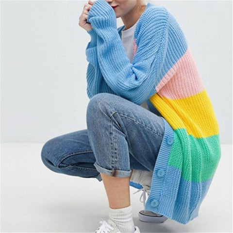 Striped Color Rainbow Loose Knit Cardigan