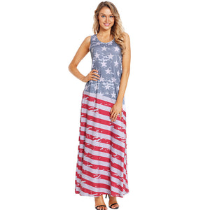 American Flag Printed Round Neck Sleeveless Loose Dress