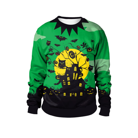 Halloween Night Witch Castle Pumpkin Head Print Long Sleeve Sweatshirt