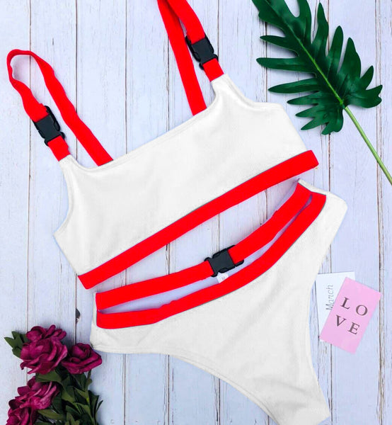 Sexy Brazilian Push up Swimsuit High Cut Bandage Buckle Two Piece Bikini Triangle Women Swimwear Bathing Suit