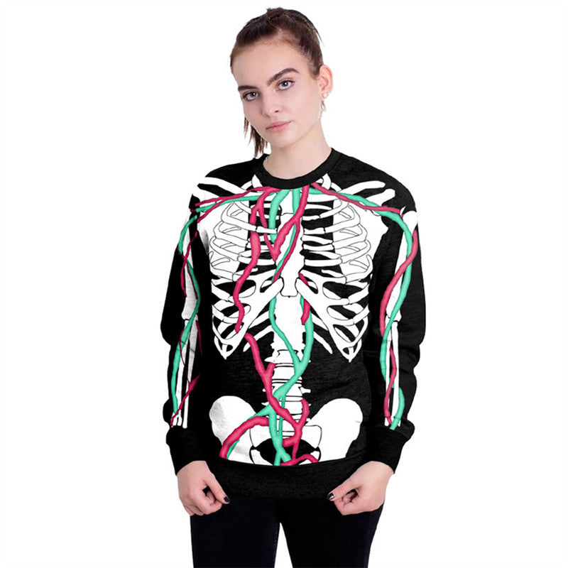 Halloween Skeleton Printed Round Neck Loose Sweatshirt