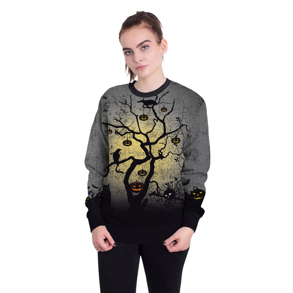 Halloween Night Print Round Neck Loose Sweatshirt  for Women
