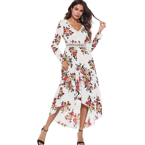 V-neck Long Sleeve Printed Irregular Dress