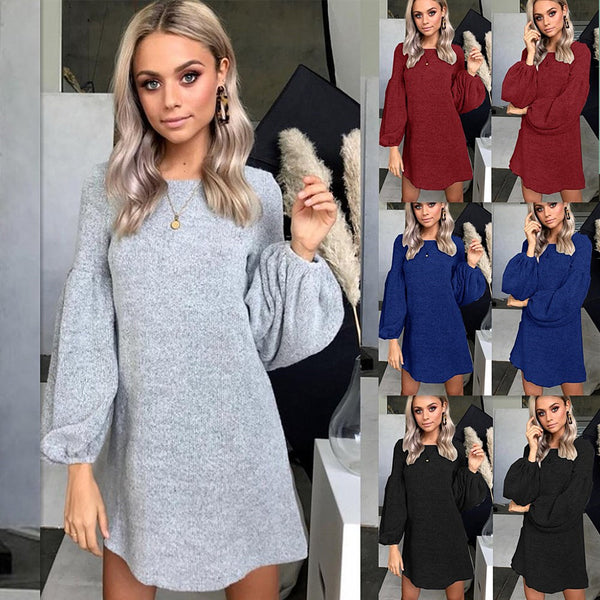 Knitted Sweater Dress Bottoming Shirt