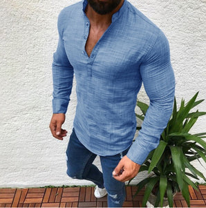 Solid Color Long Sleeve Casual  Men's Shirt