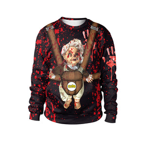 Horror Splashing Doll Print Sweatshirt Halloween Costumes
