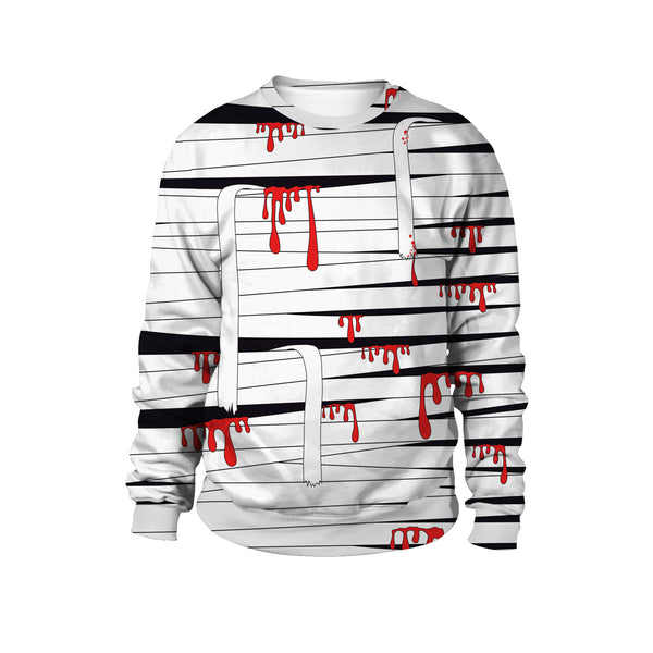 Bandage Blood Print Halloween Tour Street Trick Round Collar Sweatshirt