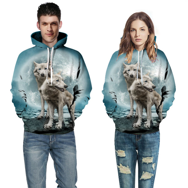Men's and Women's 3D Wolf Printed Hoodie