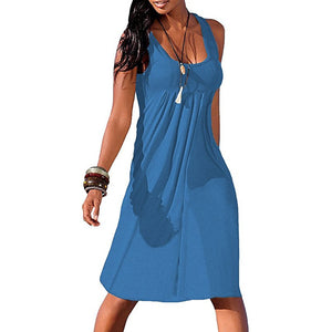 Round Neck Women Summer Dresses Shift Beach Cotton-Blend Dresses