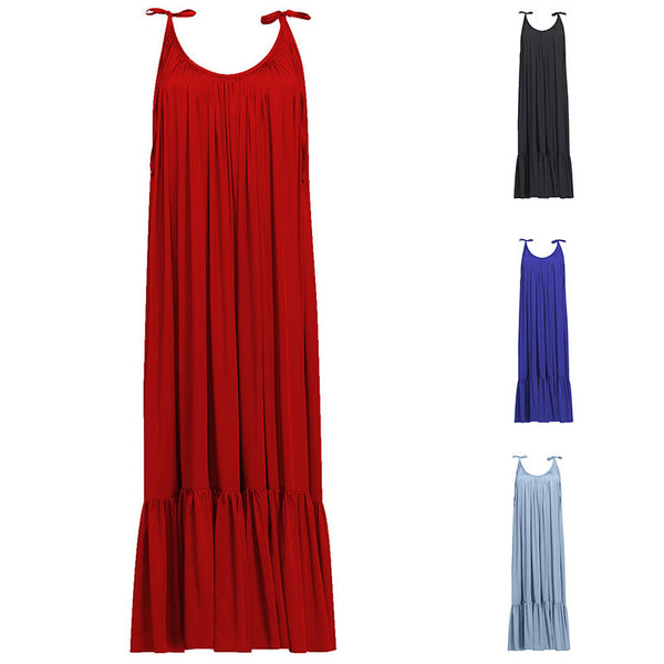Spaghetti Strap Plain Vacation Maxi Dress