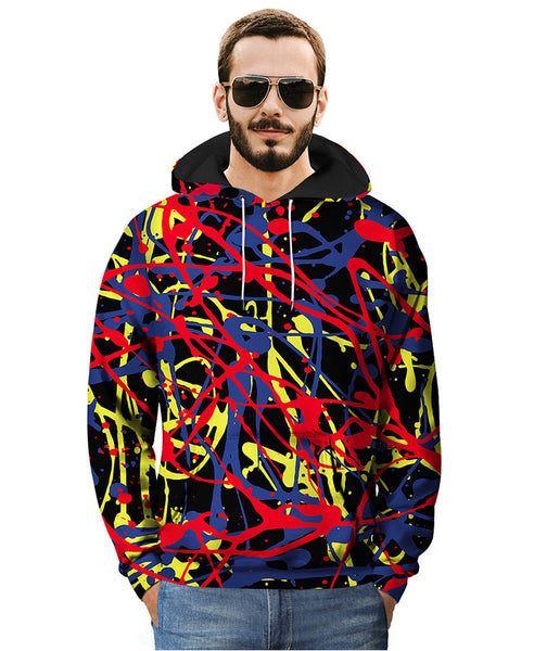 Plus Size Creative Graffiti 3D Print Men's Hooded Tops