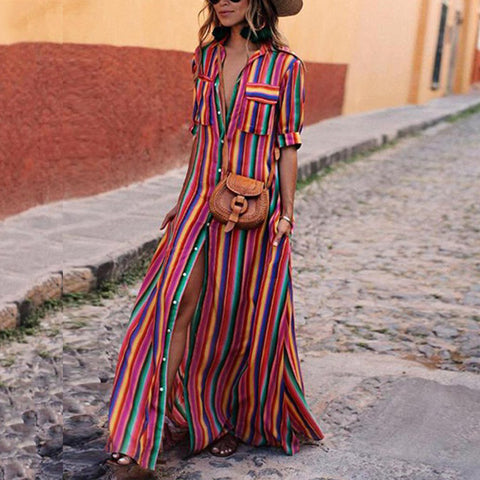 Colorful Stripe Print  Front Button Pocket Design Bohemian Maxi Dress