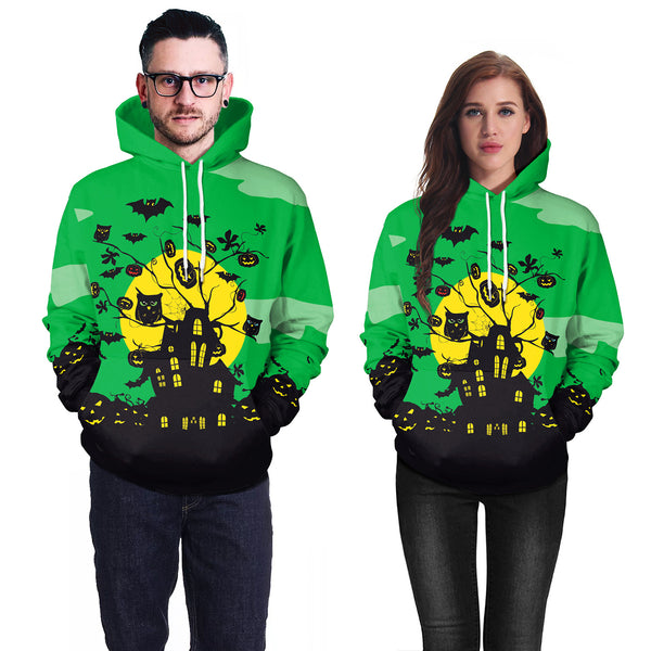 Halloween Print Long Sleeve Couple Sweatshirt Hoodie Halloween Costume