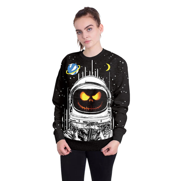 Halloween Ghost Face Aerospace Print Round Neck Loose Sweatshirt