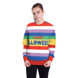 Halloween Colorful Stripes Letter Print Round Neck Loose Sweatshirt