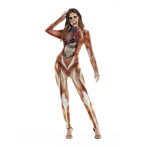 Halloween Cosplay Realistic Human Body Tissue Print Party Jumpsuits