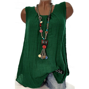 Casual Round Neck Solid Sleeveless Blouse Tops