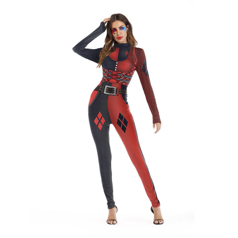 Halloween Cosplay Suicide Squad Clown Printed Party Bodysuits Jumpsuit