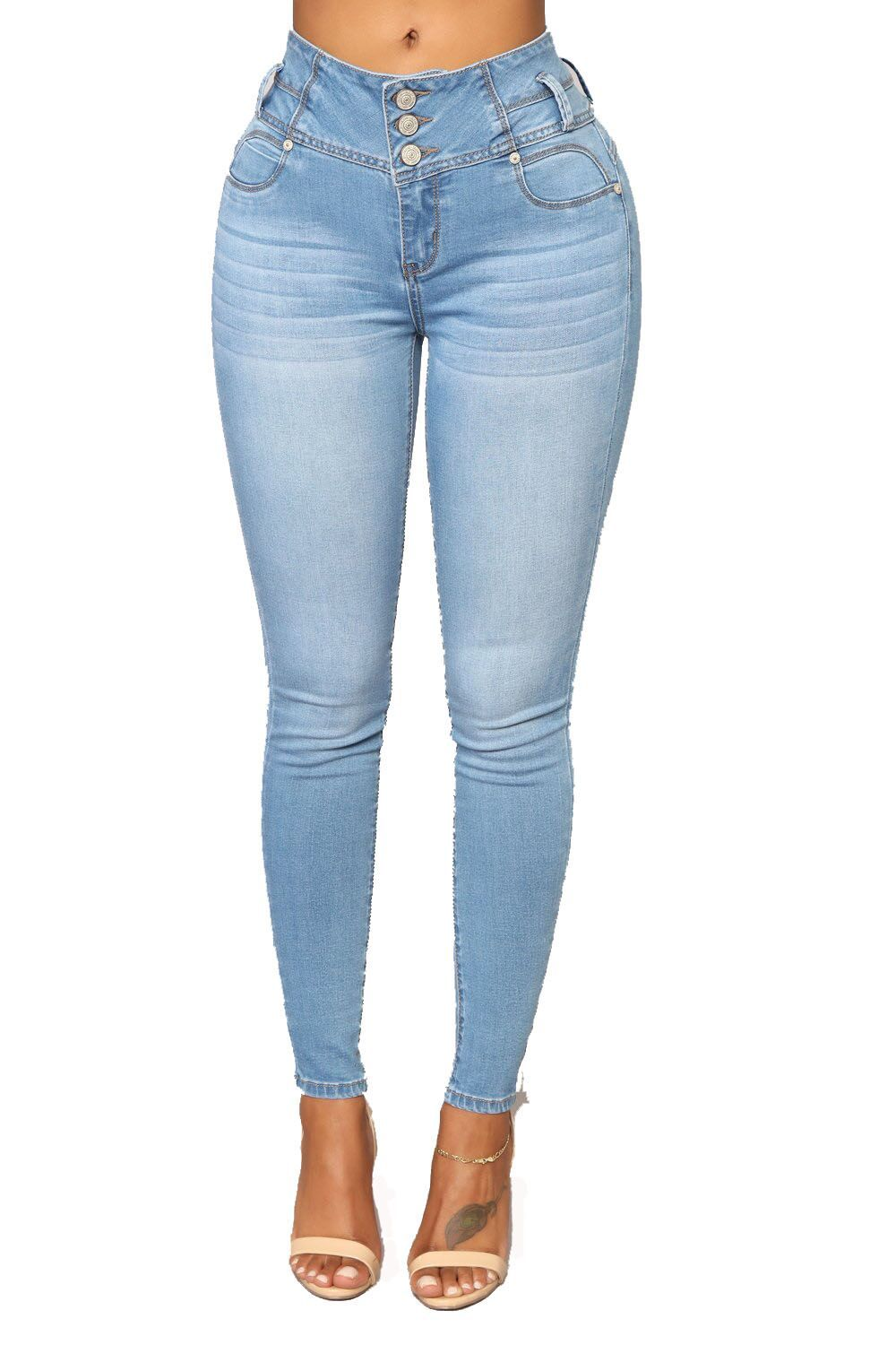 Slim Fit Three-Breasted Feet Jeans