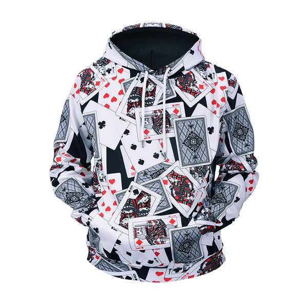 Men's Poker Print Hooded Loose Sweater
