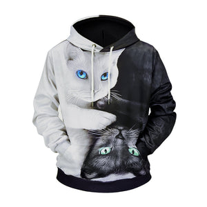 Black and White Cat 3D Printed Loose Hoodie