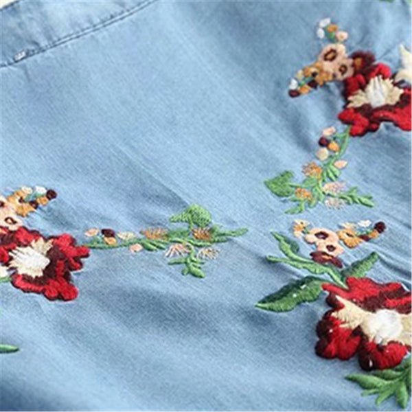 Flower Embroidery Buckle Design Long Sleeve Dress