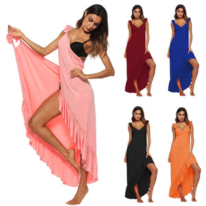 Beach Maxi Wrap Slip Dress