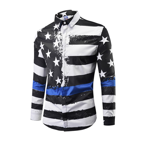 Plus Size Black and White Stars and Stripes Print Shirt