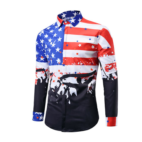 Plus Size Flag 3D Print Long Sleeve Shirt