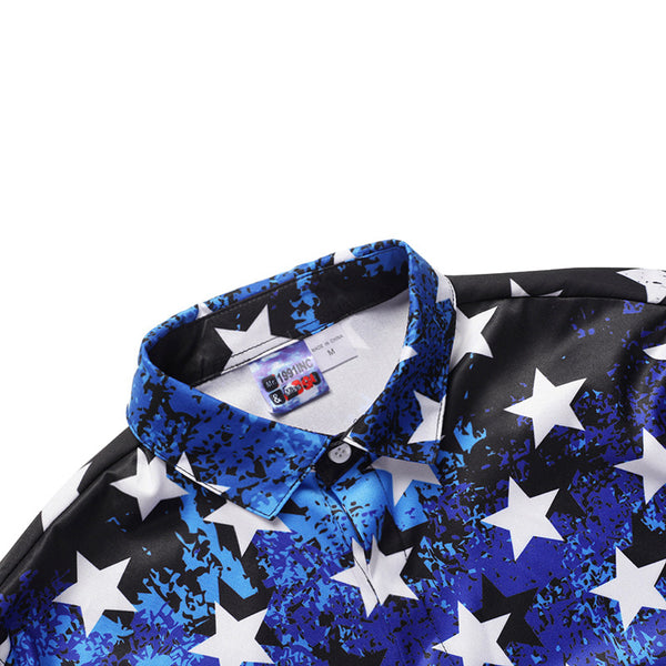 Stars and Stripes Printed Loose Casual Shirt