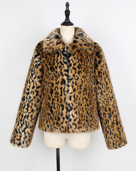 Leopard-print Faux Fur Lapel Coat
