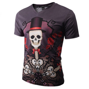 Halloween Men's 3D Skull Print Casual T-shirt