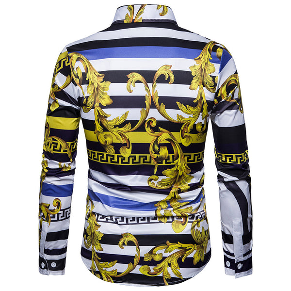 Men's Casual Digital Print Long Sleeve Shirt