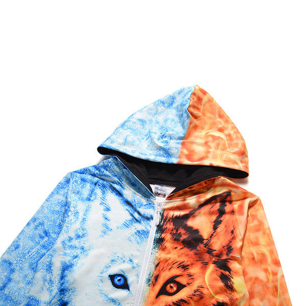 Snow and Flame Wolf Print Zip Hooded Home One Piece Jumpsuit Union Suit Onesies Pajamas